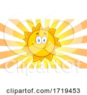 Happy Sun In A Sky With Rays