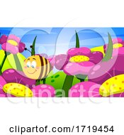 Poster, Art Print Of Happy Bee Pollinating Flowers