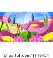 Happy Bee Pollinating Flowers