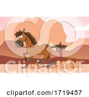 Cartoon Horse Running In A Desert
