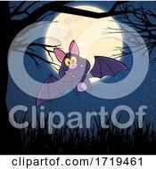 Happy Flying Bat Against A Full Moon