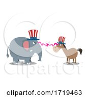 Cartoon Republican Elephant And Democratic Donkey In A Battle