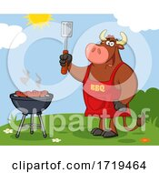 Poster, Art Print Of Cartoon Bull Bbq Chef Grilling Sausages On A Barbeque Outside