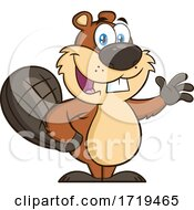 Cartoon Beaver Mascot Waving