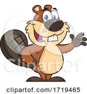 Cartoon Beaver Mascot Waving by Hit Toon