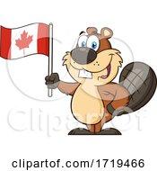 Cartoon Beaver Mascot Holding A Canadian Flag