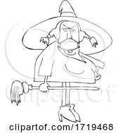 Poster, Art Print Of Cartoon Black And White Halloween Witch Wearing A Covid Mask