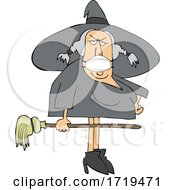 Cartoon Halloween Witch Wearing A Covid Mask