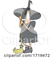 Cartoon Halloween Witch Wearing A Covid Mask And Standing With A Broom