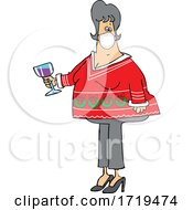 Cartoon Chubby White Woman Holding A Glass Of Wine And Wearing A Covid Mask And Ugly Christmas Sweater At A Party