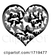 Staffy Dog Heart Silhouette Concept