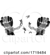 Poster, Art Print Of Hands Breaking Chain Shackle Handcuffs