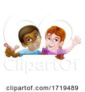 Poster, Art Print Of Girl And Boy Cartoon Children Kids Sign