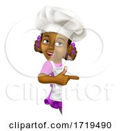 Poster, Art Print Of Black Girl Cartoon Child Chef Kid Sign Pointing