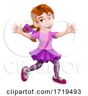 Girl Kid Cartoon Character Playing
