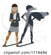 Poster, Art Print Of Business Woman Super Hero Shadow Cartoon Mascot