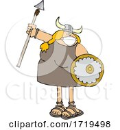 Viking Woman Armed With A Covid Mask Spear And Shield