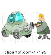 Blond Caucasian Woman In A Green Dress Plugging In Her New Green Electric Car To A Socket So It Can Charge