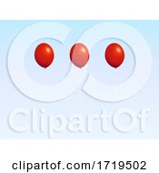 Trio Of Red Balloons Over White And Blue Background