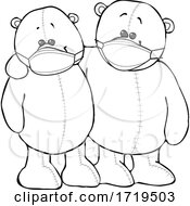Cartoon Black And White Teddy Bears Wearing Masks And Embracing