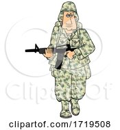 Cartoon Army Soldier Walking With A Rifle