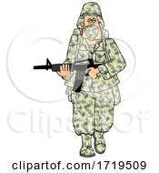 Cartoon Army Soldier Wearing A Mask And Walking With A Rifle