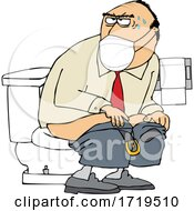 Cartoon Man Wearing A Mask And Taking A Dump In A Public Restroom