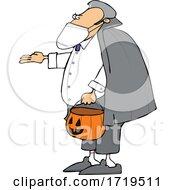 Poster, Art Print Of Cartoon Coronavirus Vampire Trick Or Treating On Halloween
