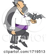 Poster, Art Print Of Cartoon Coronavirus Vampire With A Bat And Mask