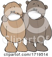 Cartoon Teddy Bears Wearing Masks And Embracing