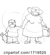 Cartoon Black And White Traveling Mother And Son Wearing Covid Face Masks