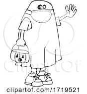 Cartoon Black And White Kid In A Covid Halloween Ghost Chostume