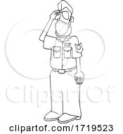 Cartoon Black And White United States Air Force Pilot Wearing A Covid Mask And Saluting