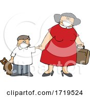 Cartoon Traveling Mother And Son Wearing Covid Face Masks
