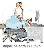 Cartoon Businessman Wearing A Covid Mask And Typing At A Desk