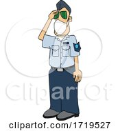 Cartoon United States Air Force Pilot Wearing A Covid Mask And Saluting