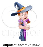 Kid Cartoon Girl Child Halloween Witch Sign
