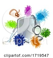 Stethoscope Shield Medical Virus Bacteria Cells by AtStockIllustration