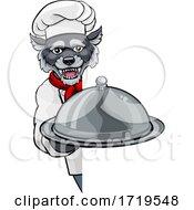 Poster, Art Print Of Wolf Chef Mascot Sign Cartoon Character