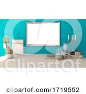 Poster, Art Print Of 3d Blank Picture Frame In A Modern Home Office