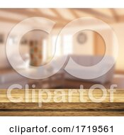 3D Wooden Tale Looking Out To A Defocussed Lounge Interior