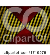 Grunge Style Red Metal Background With Yellow And Black Warning Stripes