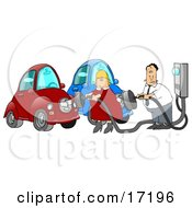 Caucasian Couple A Man And A Woman In Their Garage Plugging In Their Electric Cars To Sockets To Charge
