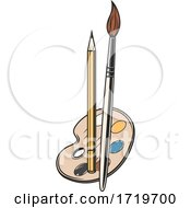 Poster, Art Print Of Palette Pencil And Paintbrush
