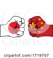 Poster, Art Print Of Fisted Japanese And Chinese Flag Hands