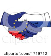 Poster, Art Print Of Russia And European Union Flag Handshake