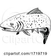 Rainbow Trout Fish Swimming Left Retro Black And White