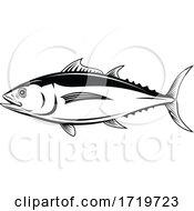 Albacore Thunnus Alalunga Or Longfin Tuna Side View Retro Black And White