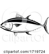 Atlantic Bluefin Tuna Northern Bluefin Tuna Giant Bluefin Tuna Or Tunny Side Retro Black And White