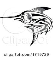 Atlantic Blue Marlin Jumping Upward Retro Black And White